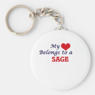 My heart belongs to a Sage Basic Round Button Keychain