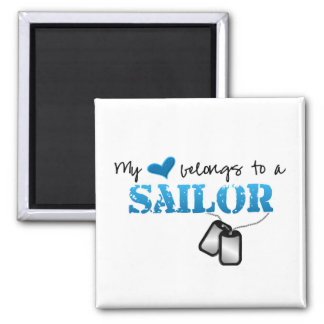 My Heart Belongs To A Sailor Square Magnet