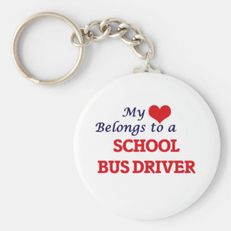 My heart belongs to a School Bus Driver Basic Round Button Keychain