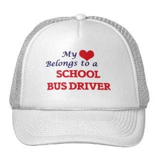 My heart belongs to a School Bus Driver Trucker Hat