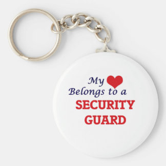 My heart belongs to a Security Guard Basic Round Button Keychain