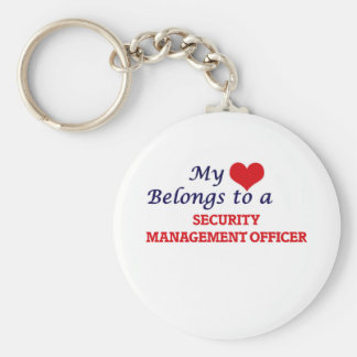 My heart belongs to a Security Management Officer Basic Round Button Keychain