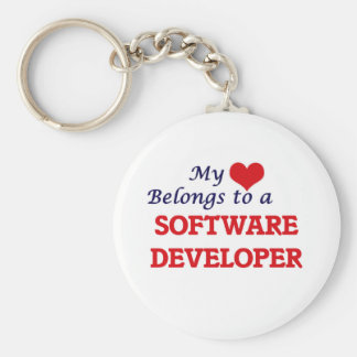 My heart belongs to a Software Developer Basic Round Button Keychain