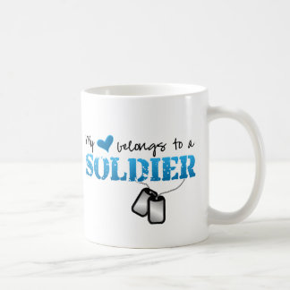 My Heart Belongs To A Soldier Basic White Mug