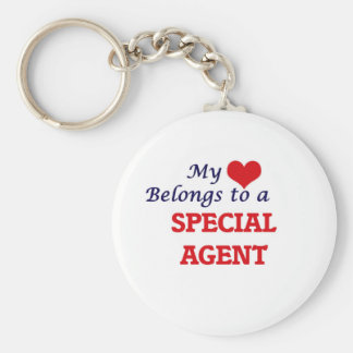 My heart belongs to a Special Agent Basic Round Button Keychain