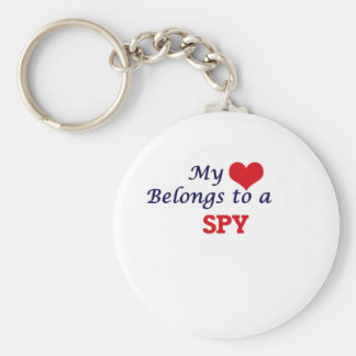 My heart belongs to a Spy Basic Round Button Keychain