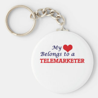 My heart belongs to a Telemarketer Basic Round Button Keychain