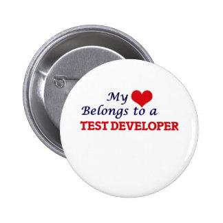 My heart belongs to a Test Developer 2 Inch Round Button
