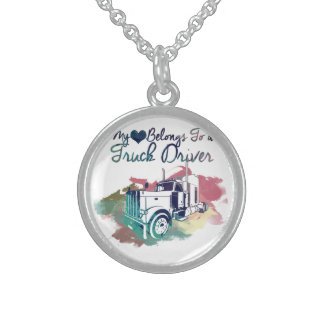 My Heart Belongs To a Truck Driver Sterling Silver Necklace