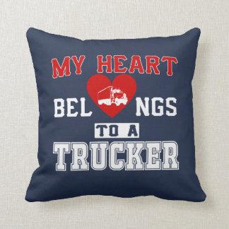 My heart belongs to a Trucker Throw Pillow