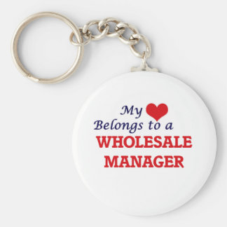 My heart belongs to a Wholesale Manager Basic Round Button Keychain