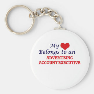 My Heart Belongs to an Advertising Account Executi Basic Round Button Keychain
