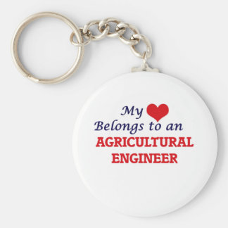 My Heart Belongs to an Agricultural Engineer Basic Round Button Keychain