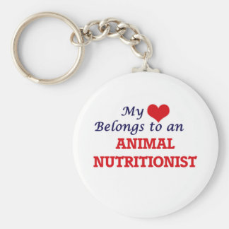 My Heart Belongs to an Animal Nutritionist Basic Round Button Keychain