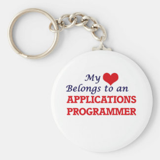 My Heart Belongs to an Applications Programmer Basic Round Button Keychain