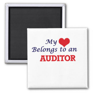My Heart Belongs to an Auditor Square Magnet