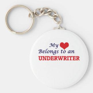 My Heart Belongs to an Underwriter Basic Round Button Keychain