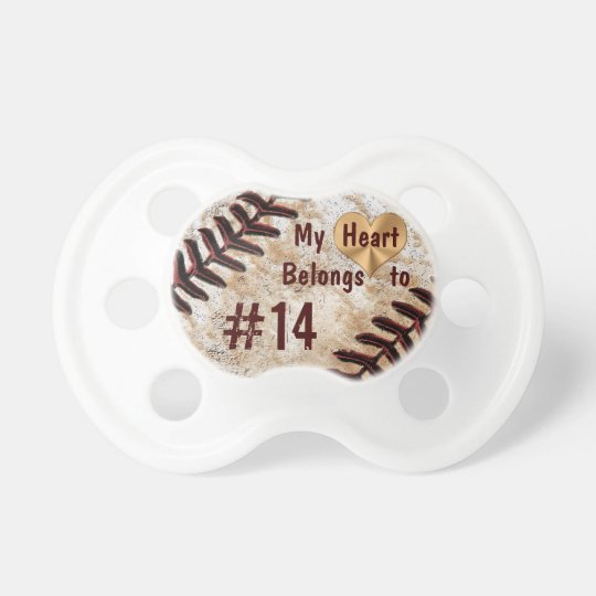 My Heart Belongs to Daddy's Baseball Number Baby Pacifier