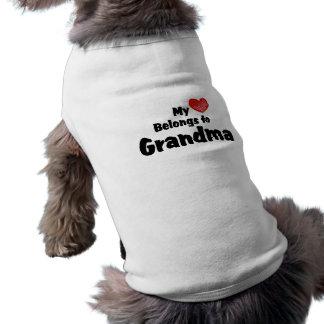 My Heart Belongs To Grandma Doggie Tee Shirt