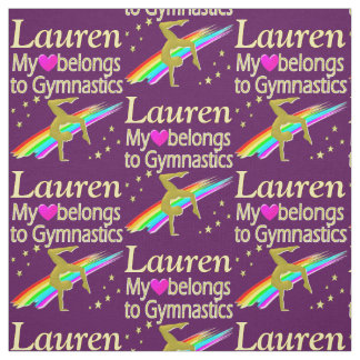 MY HEART BELONGS TO GYMNASTICS PERSONALIZED FABRIC