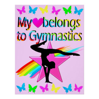 MY HEART BELONGS TO GYMNASTICS PRETTY DESIGN POSTER