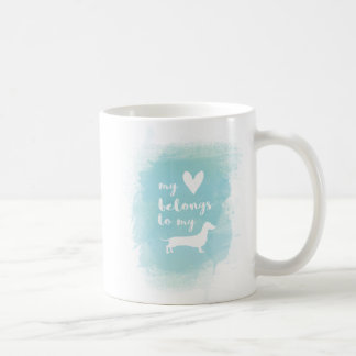 My heart belongs to my dachs calligraphy watercolo coffee mug