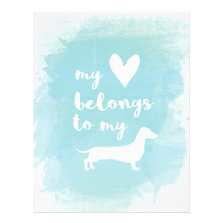 My heart belongs to my dachs calligraphy watercolo letterhead