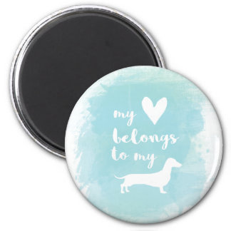 My heart belongs to my dachs calligraphy watercolo magnet