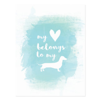 My heart belongs to my dachs calligraphy watercolo postcard