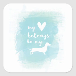 My heart belongs to my dachs calligraphy watercolo square sticker