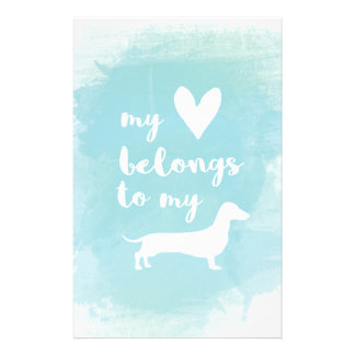 My heart belongs to my dachs calligraphy watercolo stationery