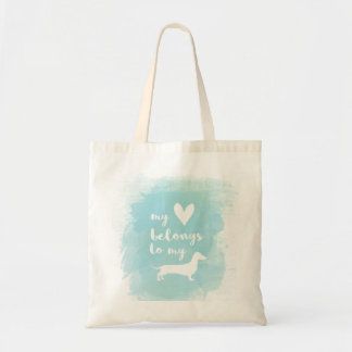 My heart belongs to my dachs calligraphy watercolo tote bag
