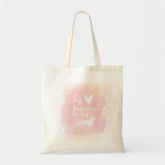 """My heart belongs to my dachs"" pink calligraphy Tote Bag"
