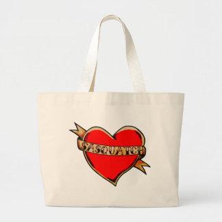 My heart belongs to sasquatch large tote bag
