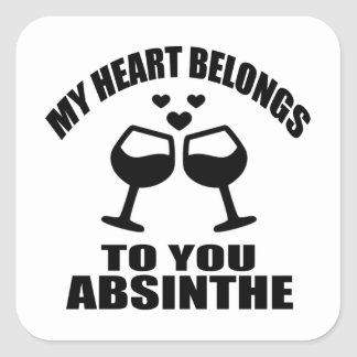 MY HEART BELONGS TO YOU ABSINTHE SQUARE STICKER