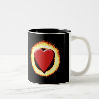 My heart burns for you Two-Tone mug