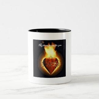 My Heart burns for you Two-Tone Coffee Mug