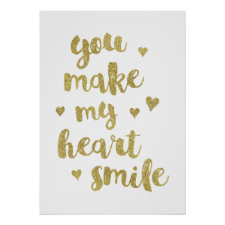 My Heart | Faux Gold Foil Calligraphy Quote Poster