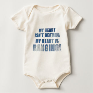 My heart is banging heavy metal ecg baby bodysuit