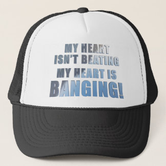My heart is banging heavy metal ecg trucker hat
