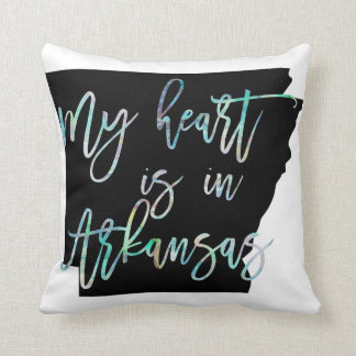 My Heart is in Arkansas state AR Iridescent Pearly Throw Pillow