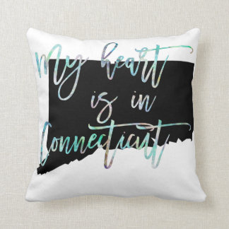 My Heart is in Connecticut state CT Iridescent Throw Pillow