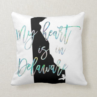 My Heart is in Delaware state DE Iridescent Pearly Throw Pillow