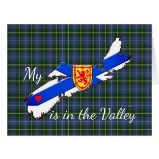 My Heart is in the valley Nova Scotia card tartan