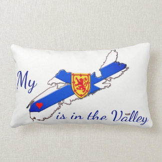 My Heart is in the valley Nova Scotia pillow blue