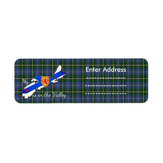 My Heart is in the valley Nova Scotia  Sticker Return Address Label