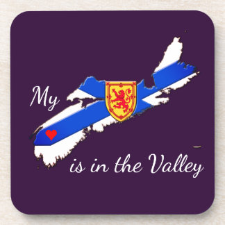 My Heart is in the valley  set of coasters purple