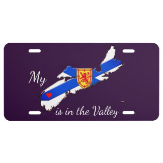 My Heart is the valley N.S. license plate purple