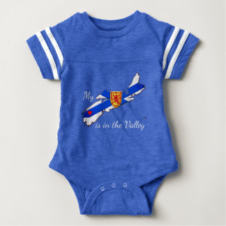 My Heart is the valley Nova Scotia baby shirt blue