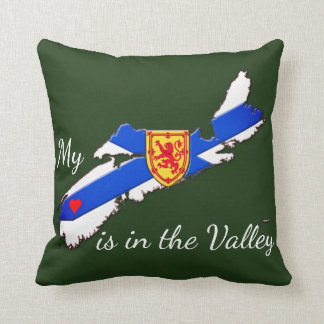 My Heart is  the valley Nova Scotia pillow green